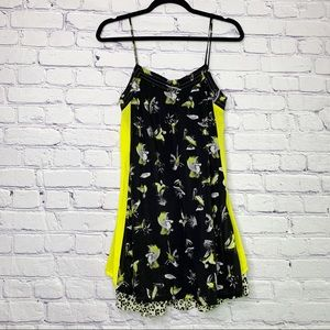 Zara | Black & Neon Bird Print Summer Dress | M
